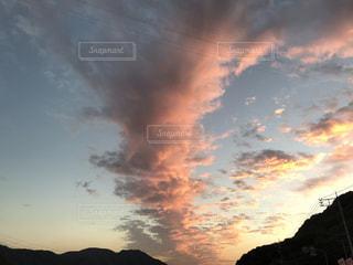 空,屋外,雲,夕焼け,秋空