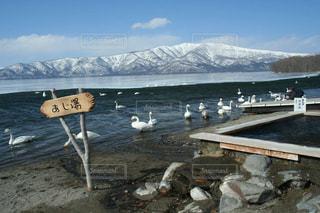 美しい北海道屈斜路湖の景色と足湯の写真・画像素材[1781418]