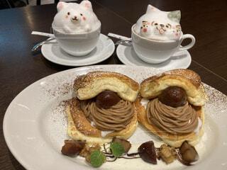 秋の味覚モンブランパンケーキの写真・画像素材[3806464]