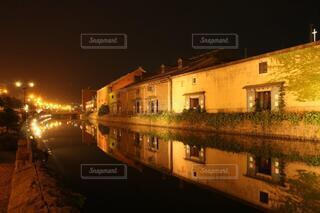 小樽運河の夜景の写真・画像素材[4067718]