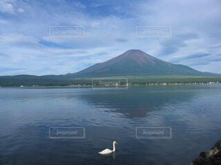 山中湖の赤富士風景の写真・画像素材[4618405]