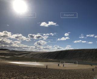 空,屋外,太陽,砂,雲,光,鳥取砂丘,日中