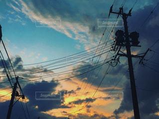 風景,空,夕日,雲,綺麗,電柱,電線,夕陽,色