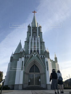 女性,建物,屋外,後ろ姿,教会,長崎,平戸,神聖な場所
