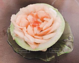 ピンク,綺麗,お花,薔薇,フルーツ,メロン,美味しい,お皿,桃