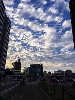 雲,青空,夕方,道,秋空,羊雲
