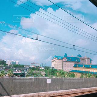 風景,空,建物,秋,雲,電車,晴れ,電線,テーマパーク,ディズニーランド,千葉,秋空,ディズニーリゾート,おしゃれ