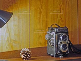 まだ現役の二眼レフカメラとマツボックリの写真・画像素材[4804710]