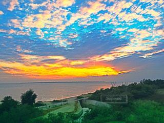 空,秋,雲,夕焼け,南の島
