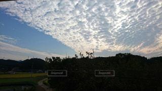 自然,夜空,屋外,雲,景色,うろこ雲