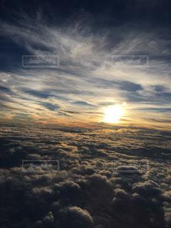 自然,空,秋,夕日,太陽,夕暮れ,飛行機,秋空