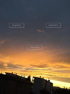 空,秋,夕日,雲,夕焼け,秋空