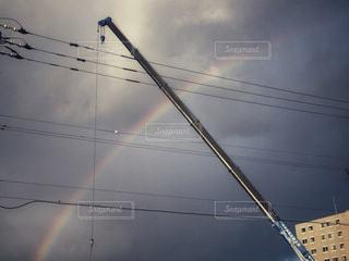 空,虹,クレーン,住宅街,ポジティブ,クレーン車
