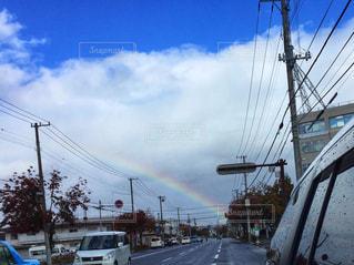空,雲,虹,道路,未来,ラッキー,ポジティブ,希望,まっすぐ