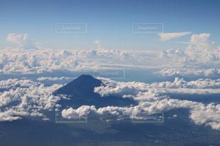 空,富士山,絶景,青,入道雲,航空写真,富士,ラッキー,希望,フォトジェニック,インスタ映え