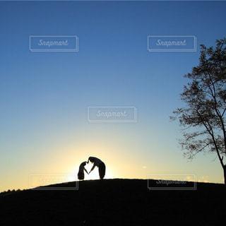 家族,秋,木,屋外,親子,夕焼け,夕暮れ,シルエット,丘,仲良し,ハート,人物,人,幸せ,ふたり,一緒,フォトジェニック,インスタ映え