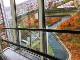 大きな窓の景色、五稜郭タワーからの紅葉の写真・画像素材[1609997]