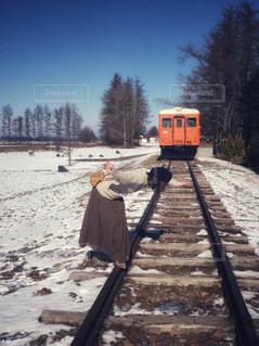 雪に覆われた鉄道、幸福駅の写真・画像素材[1626936]