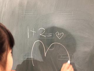 子供,女の子,少女,ハート,黒板,数字,♡,数学,新しい,斬新,算数