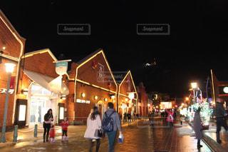 函館クリスマスイルミネーション、赤レンガ倉庫の写真・画像素材[1691357]