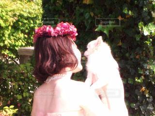 女性,犬,自然,公園,花,チワワ,屋外,緑,白,結婚式,花嫁,光,樹木,人物,わんこ,人,ウェディングドレス,後姿,結婚,ボブ,花冠,ロングコートチワワ,新婦,前撮り,わんちゃん,自然光,カラードレス,わたし,ウェディング,花嫁さん,ウェディングフォト