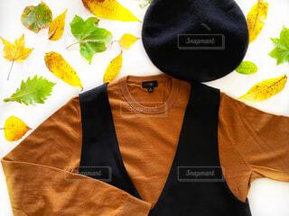 秋ファッション置き画、紅葉した葉っぱの写真・画像素材[4809869]