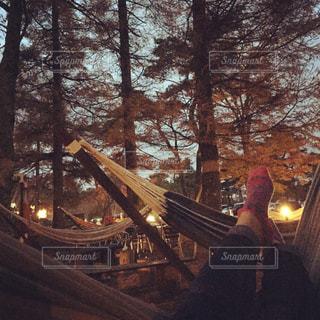 秋,紅葉,夕暮れ,ハンモック,秋の空