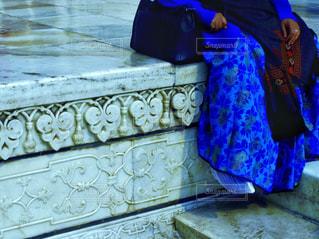 白,青,インド,彫刻,大理石,民族衣装