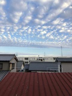 空,雲,ベランダ,夕方,うろこ雲