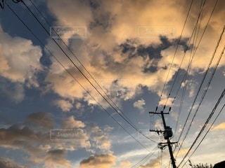 空,夕日,雲,夕暮れ,電線