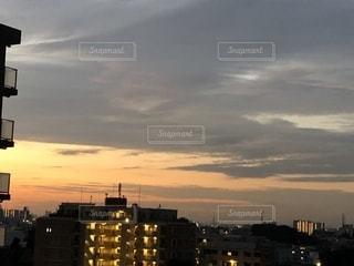 風景,空,屋外,夕焼け,都会