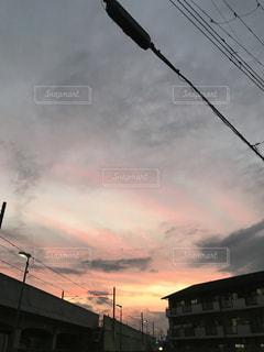 空,雲,電線,秋空,夕暮れの空