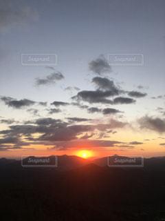 空,朝日,山,旅行,秋空,眺め