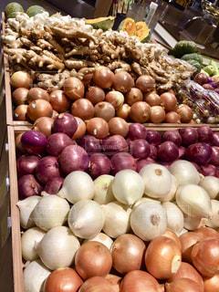 さまざまな果物や野菜の展示の写真・画像素材[1555021]