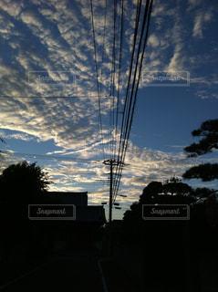 空,雲,夕方,景色,電柱,電線,うろこ雲,秋空