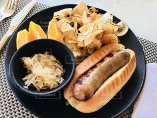 ディナー,ワンプレート,美味しい,ホットドッグ,ポテトチップス,味覚,味