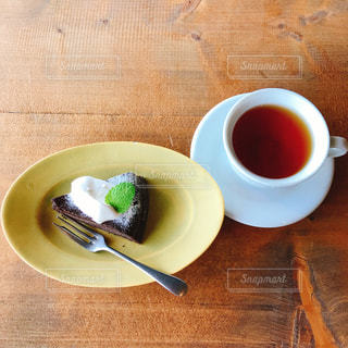 ケーキ,ティータイム,カップ,紅茶,ガトーショコラ,ドリンク,tea