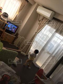 リビング,後ろ姿,人物,背中,人,後姿,赤ちゃん,テレビ,男の子,はじめて,1歳児,たっち
