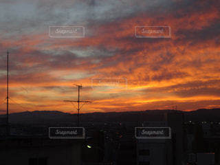 空,秋,雲,オレンジ,秋空,夕焼
