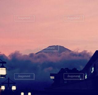 秋,富士山,ピンク,夕焼け,秋空