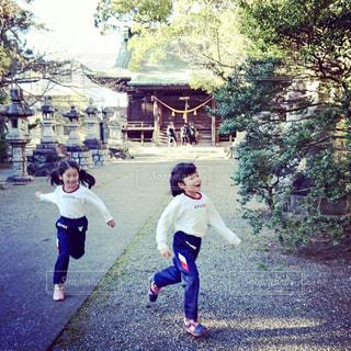 スポーツ,屋外,神社,子供,樹木,幼児,遊び,追いかけっこ,鬼ごっこ
