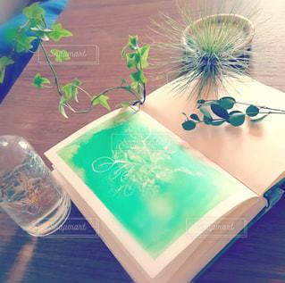 木製テーブルの上の本と植物の写真・画像素材[1562573]