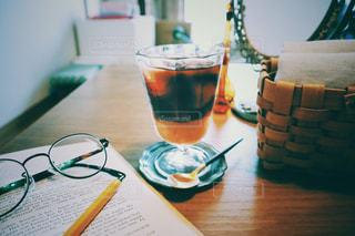 飲み物,コーヒー,アイスコーヒー,アンティーク,室内,めがね,鏡,レトロ,テーブル,スプーン,グラス,おいしい,おうちカフェ,フィルム,ミラー,木目,ビンテージ,フィルム写真,カゴ,メガネ,フィルム風,フィルムフォト