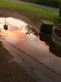 夕焼け,水たまり,夕方,鏡,映る,水溜り,雨上がり,夕焼け雲,秋の空