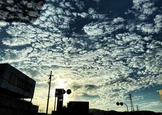 雲,夕方,うろこ雲,秋空