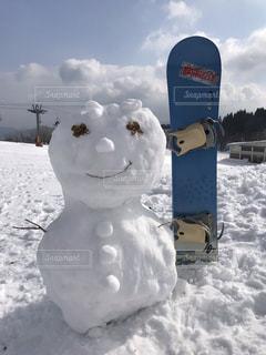 青空,雪だるま,スノーボード