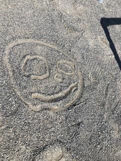 公園,屋外,砂,ペン,顔,地面,紙,おえかき,おうち時間