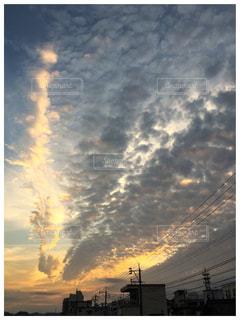 秋,雲,夕焼け,秋空