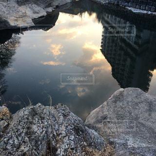 秋,雲,夕焼け,水面反射