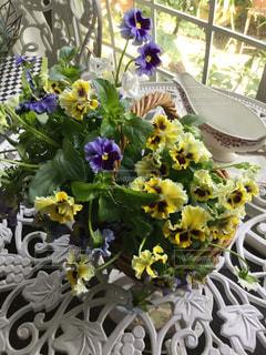 テーブルの上の花の花瓶の写真・画像素材[1537670]